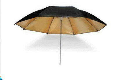 "33"" Studio Flash Light Reflector Black Gold Umbrella Photography tool 83cm"