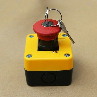 Red Sign Emergency Stop Push Button Switch & Key / 660V