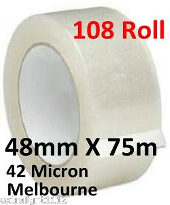 108 Rolls Clear Packing Packaging Tape 48mm x 75m - High Quality