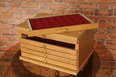 Oak6 Brand New Coin Tray Collection Cabinet For 6 Trays Perfect For Coins Medals