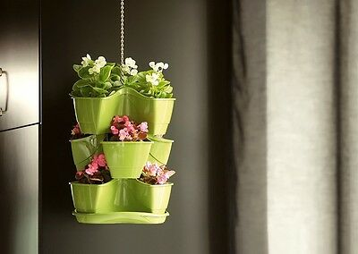 Green Hanging 3 X 3 Pot Stackable Strawberry Flower Herb Planter Herbs Dkn300W