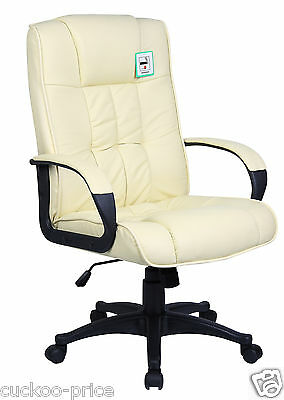 Cream Padded PU Leather Executive Swivel Office Chair Computer Desk Study Chair