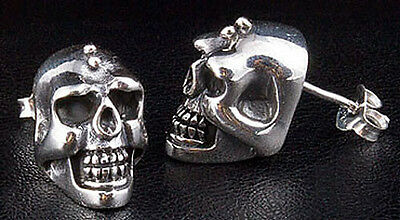 Gothic Skull Solid 925 Sterling Silver Mens Studs Earrings New Punk Emo Biker