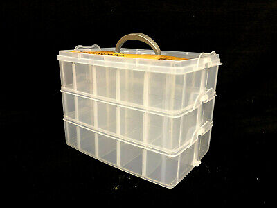 3 Tier Snap Clear Plastic Storage Box Case Organiser Craft Tool Sew Stationery
