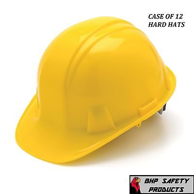 Pyramex Cap Style Safety Hard Hat Yellow 4 Point Ratchet Construction (12 Hats)