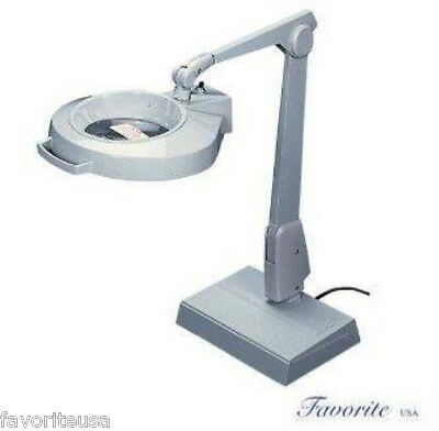 DAZOR 1.75x MAGNIFIER LAMP CIRCLINE WITH BASE FLOATING ARM DOVE GRAY 1470E