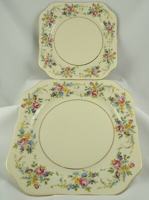 KPM Royal Ivory ~ Krister (Rosenthal) ~  Queens Rose ~ 2 ~ Square Salad Plates
