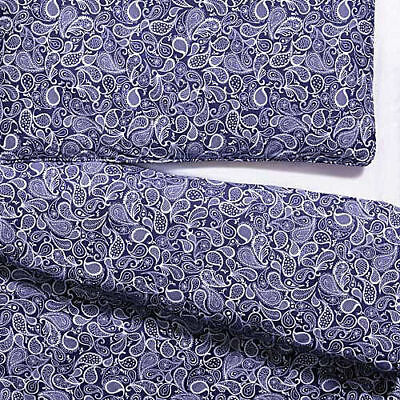 100% Cotton PAISLEY BLUE Quilt Cover Set - COT SIZE New