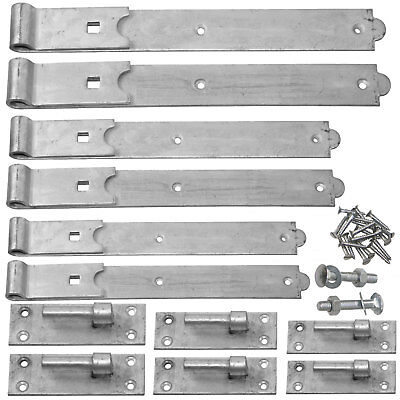 Hook & Band Gate Hinges 12 - 36 Inch - Black or Galvanised Heavy Duty Gate Hinge