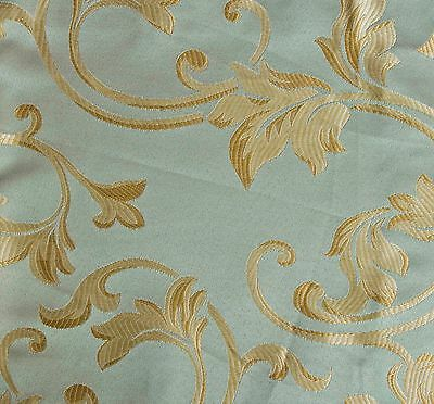 """10 Yards JACQUARD BLUE GREEN FLORAL DESIGN DRAPERY UPHOLSTERY FABRIC Width 60"""""""