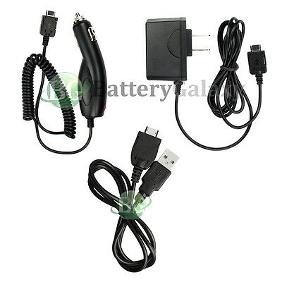 Home Wall AC+Battery Car Charger+USB Sync Cable for AT&T Pantech P7000 Impact
