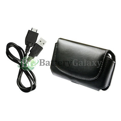 USB Data Sync Charger Cable+Leather Pouch Case for AT&T Pantech P7000 Impact