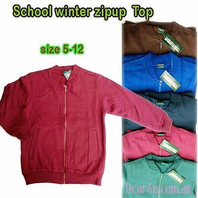 School Uniform boys girls fleece Zipup top 5-12 green maroon brown blue navy