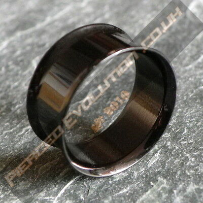 316L Anodised Black Surgical Steel Double Flare Flesh Tunnel  Plug (Choose Size)