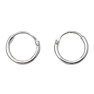 Sterling Silver Small 1.2mm x 10mm Endless Hoop Earrings Round .925 Jewelry