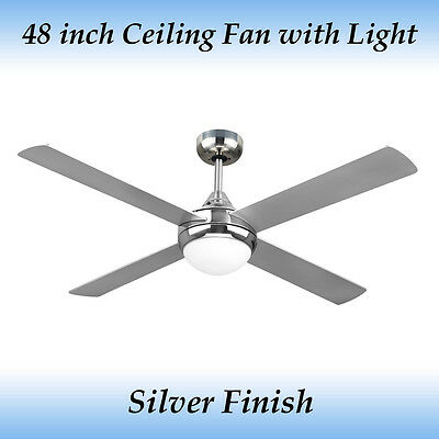 Fias Revolve 48 Inch Ceiling Fan Brushed Chrome With Light