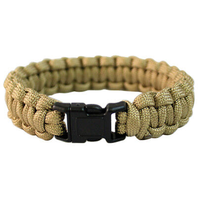 PARACORD WRIST BAND TACTICAL BRACELET HIKING EMERGENCY SURVIVAL CORD COYOTE 22mm