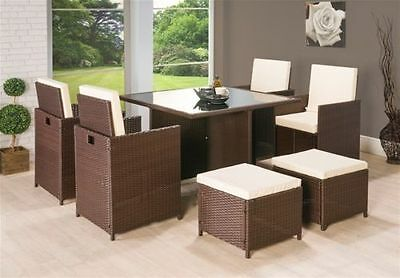 New Rattan Garden Furniture Set 4pc chairs sofa Table Outdoor Patio Conservatory