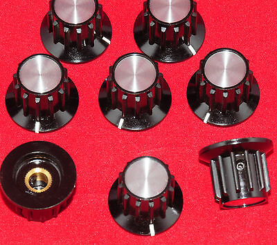 "- 8 Pcs - Black Instrument Knobs -  Alco Pka-70B 1/4"" - Spun Alu Insert -"