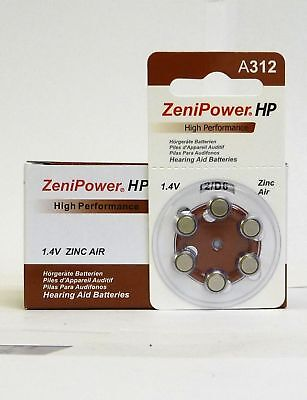 Zenipower High Performance, size 312 Hearing Aid Battery, Pack 60 Expire 2017