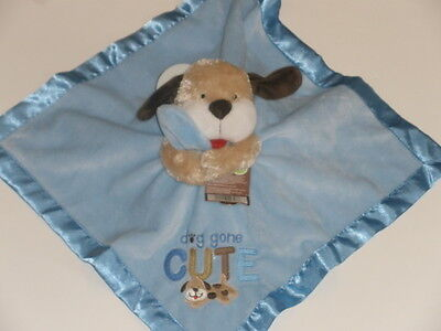 NWT Carters Dog Gone Cute Blue Puppy Dog Rattle Security Blanket Baby Toy Lovey