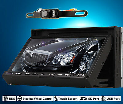"Double Din 2 Din 7"" LCD Car Stereo DVD CD Player Radio IR+Free Rear Camera Prom"