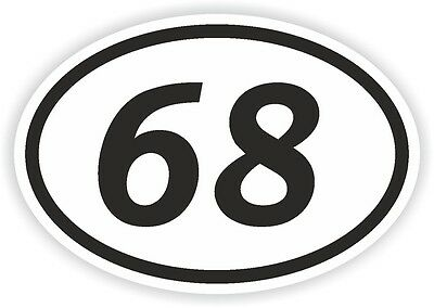 68 SIXTY-EIGHT NUMBER OVAL STICKER bumper decal motocross motorcycle Aufkleber