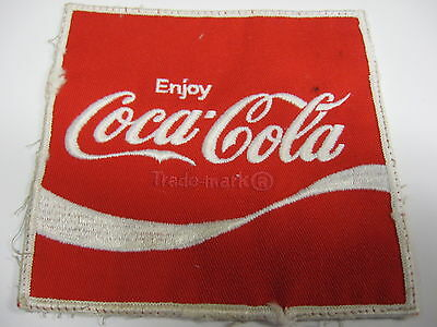 "Vintage 1970s Enjoy Coca Cola Employee Uniform Patch, Embroidered, 5"" x 5"", #2"