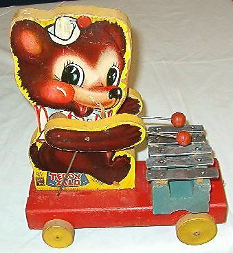Early 1946 Fisher Price 5-Key Teddy Xylophone Pull Toy