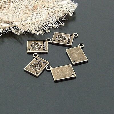 30X Antique Style Bronze Tone Alloy Passport Card Pendant Charms 15*11mm
