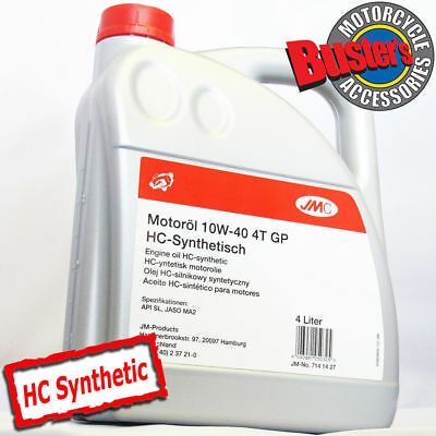 JMC 10w/40 4T Fully Synthetic Motorcycle Engine Oil 4 Litres 4L