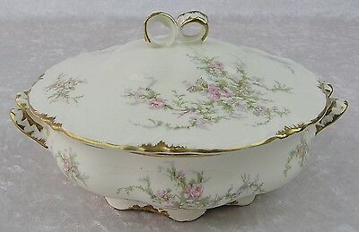 Vtg Taylor Smith & T/TS&T 1689 Gold Gilded Trim-Round Covered Vegetable Dish