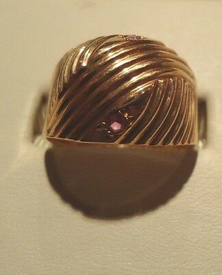 Estate Vintage Russian Pink Gold Dome Ring 14K Size 7