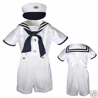 New Baby & Toddler Formal Party Nautical Sailor Suit Outfits SZ: S M L XL 3T 4T