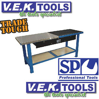 Sp Tools Industrial Metal 3 Drawer Work Bench-Stainless & Rubber Top-Valued@$799