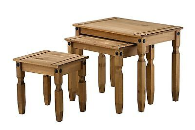 Corona Nest of 3 Tables Mexican Pine Solid Wood Furniture Waxed