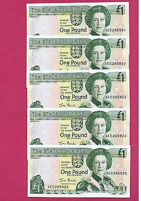 PRISTINE FIVE CONSECUTIVE The STATES of JERSEY ONE POUND NOTES last Prefix: AEC