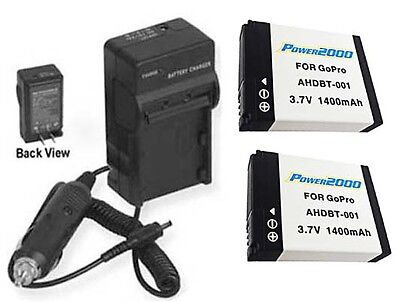 2 Batteries + Charger AHDBT-001 AHDBT-002 for GoPro HD HERO2 OUTDOOR EDITION