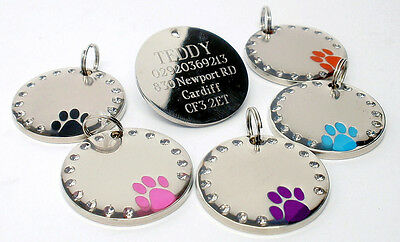 Personalised 30mm Round Crystal and Paw Dog Pet ID Tag Disc Engraved Free