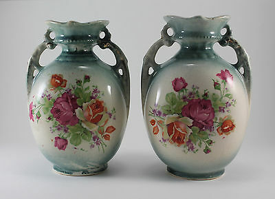 Antique England Hand Painted Porcelain 2 Handled Pink Floral Rose Vase Jar Urn