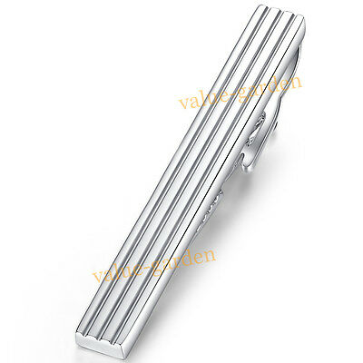 Mens Boys White Silver Stainless Steel Skinny Slim Tie Clip Clasp Bar, 4cm, Gift