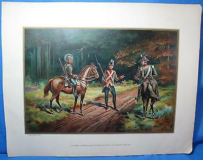 US Army Commissioned Officer Pvt Cavalry 1802 Chromolithograph Print Werner 1899