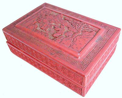 """Antique Chinese Cinnabar Red Lacquer Box with Scholar, Child & Trees (5.5"""" long)"""