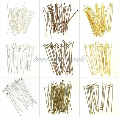 100 pcs Silver Golden Head/Eye/Ball Pins Finding 21 Gauge any size to choose
