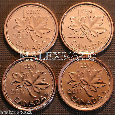 2011 & 2012 Bu Canada 1 Cent Mint State (4 Coins)   >>Free $Hipping In Canada!<<