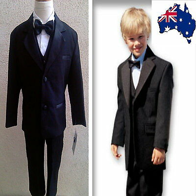 New 5 Pcs Boys Formal Suit Black Wedding Birthday Party Boys Suit Size 00 to 14