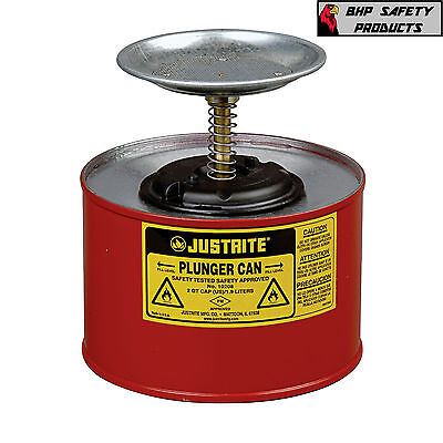**new** Justrite 2 Quart Plunger Dispensing Can Red Galvanized Steel 10208