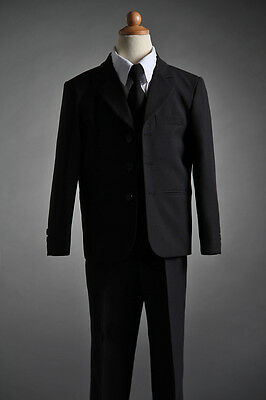 Boys Black 5pc Formal Suit Wedding Tuxedo 00/0/12M/18M/2/3/4/5/6/7/8/10/12/14/16