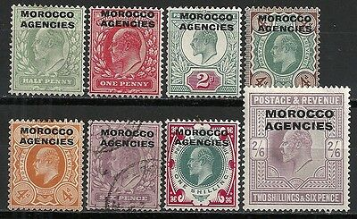 Morocco Agencies stamps 1907 SG 31-38  MLH/CANC  VF