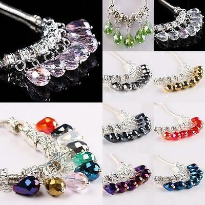 Wholesale Crystal Glass Gemstone Dangle Loose Beads Fit Charms Bracelet Jewelry